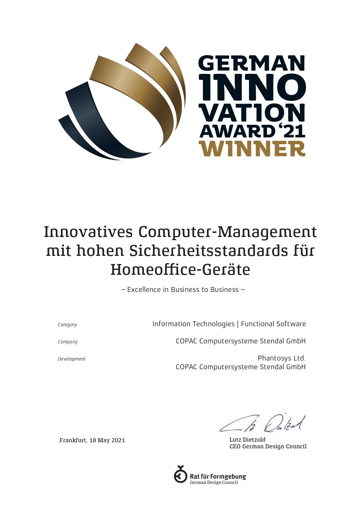 German Innovation Award 21 WINNER