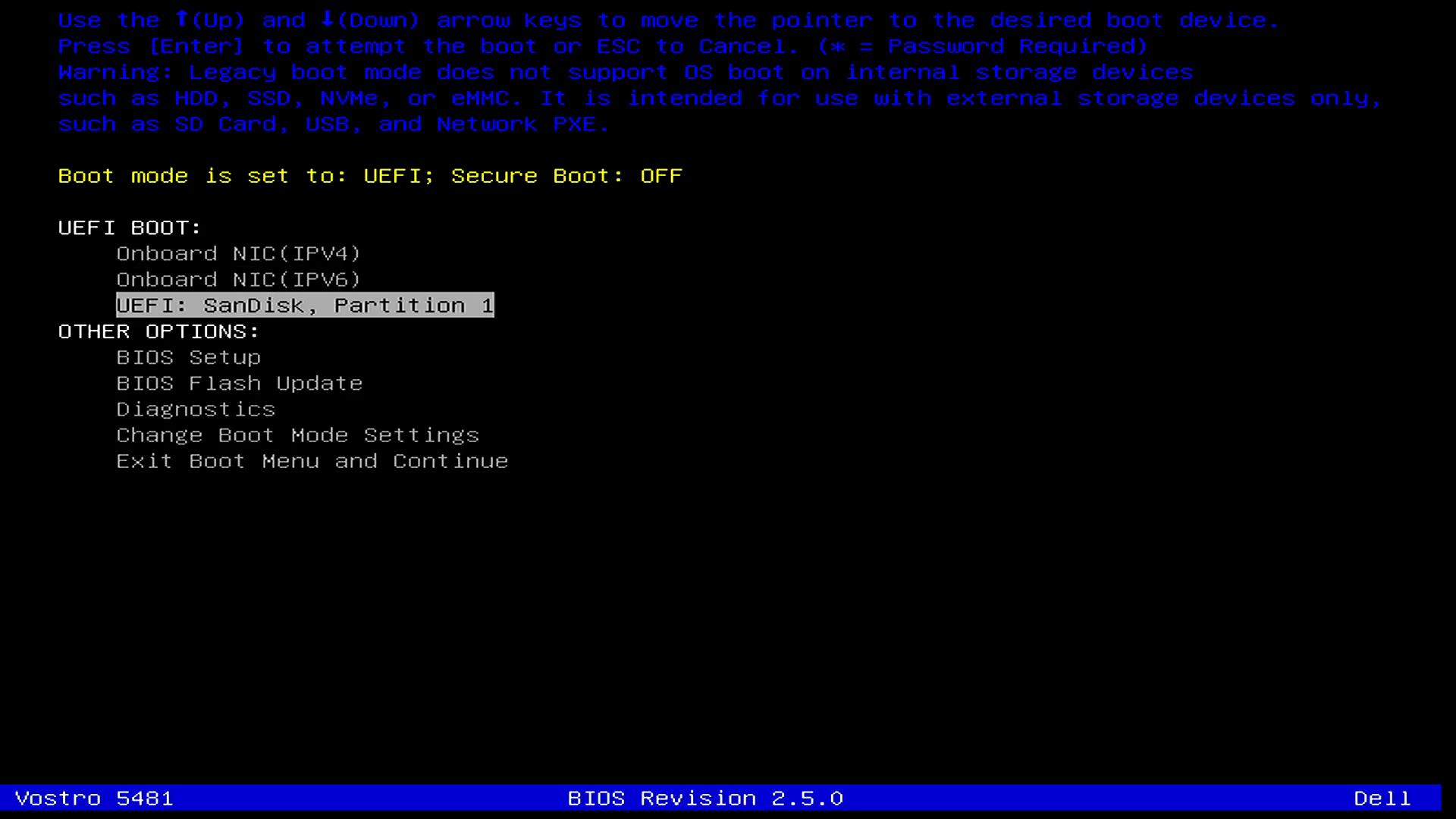 Select Boot from USB